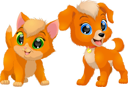 Vector illustration, kitten and puppy, friends, funny cute pets.