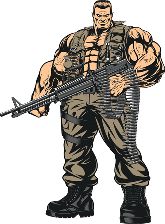 Vector illustration armed with a strong soldier, Special Forces, on a white background