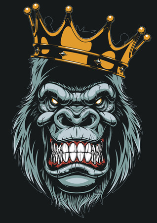 Vector illustration, ferocious gorilla head on with crown, on white background