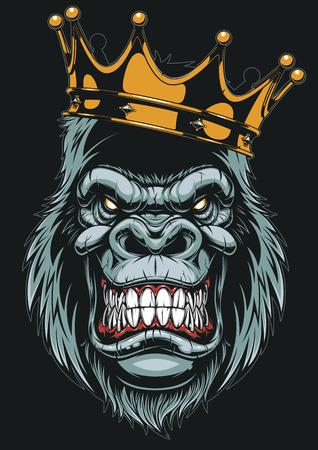 Vector l'illustrazione, testa feroce della gorilla sopra con la corona, su fondo bianco