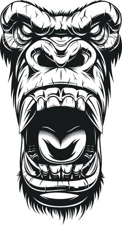 Illustrazione vettoriale, testa gorilla feroce, su sfondo bianco, schizzo Vettoriali