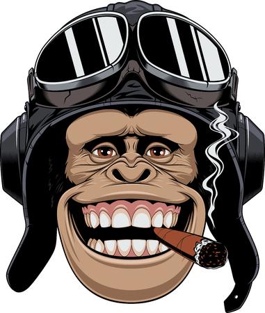 chimpances: Ilustración vectorial, una cabeza de chimpancés en el casco de un piloto, fuma un cigarro y sonríe.