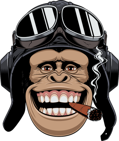 Vector illustration, a chimpanzees head in a pilots helmet, smokes a cigar and smiles. Ilustração