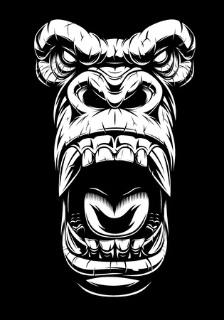 Vector illustration, ferocious gorilla head, on black background, stencil Ilustração