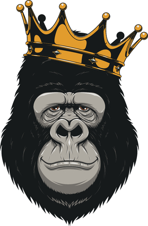 Vectorillustratie, grappige gorilla hoofd met kroon, koning van apen, op witte achtergrond Stock Illustratie
