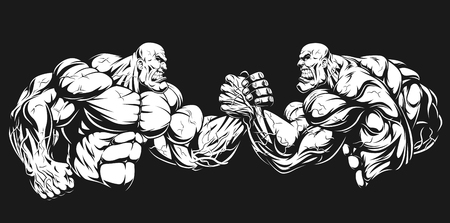 Vector illustration, two athletes engaged in armwrestling, fighting on hands Vectores