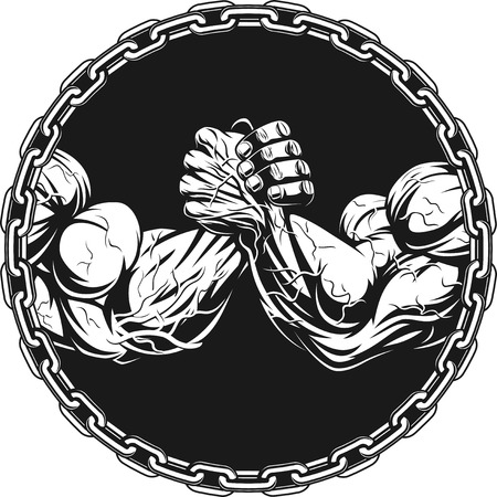 Symbol of the competition on armwrestling, on white background vector illustration