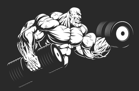 Vector illustration, bodybuilder strongmen doing exercise with dumbbells for biceps