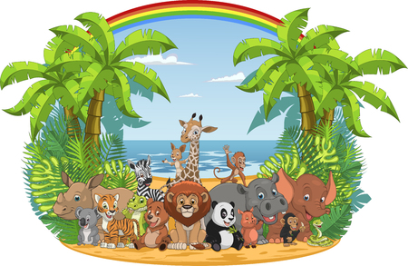 Vector illustration of a set of funny exotic animals in the wild in the jungle Ilustrace