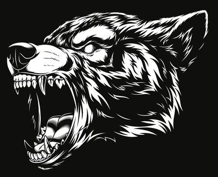 Ferocious wolf head illustration. Illustration