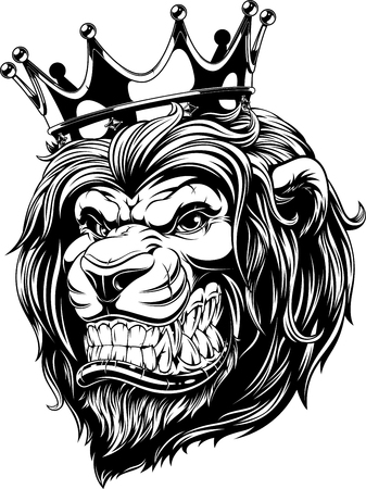 Vector illustration the lion king, the head of a lion in the crown, on a white background.