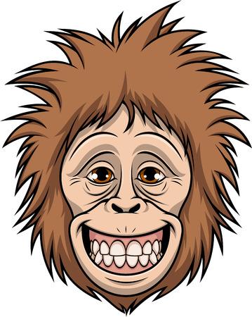 Funny orangutan head smiling