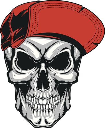 Illustration of a formidable skull in a red baseball cap. Illustration