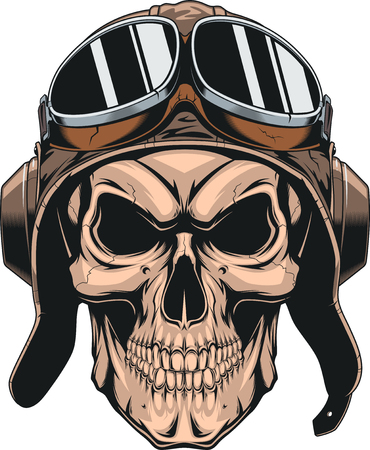Wicked skull with pilot helmet.