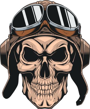 Cranio malvagio con casco pilota. Vettoriali