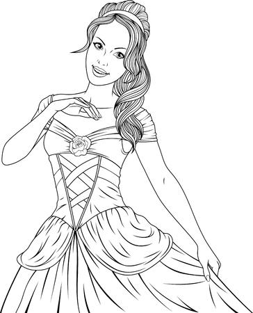 Illustrazione di bella principessa fata ballando alla palla.