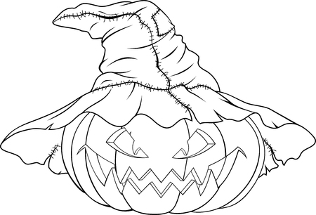 Illustration of evil pumpkin in witch hat for Halloween. Illustration