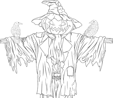 Illustration of evil scarecrow in rags with ravens. Stock Illustratie