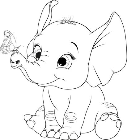 Funny Cartoon Baby Elefant Mit Schmetterling Schwarz Weiß Vektor