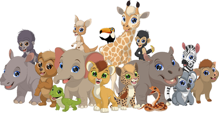 Vector illustration set of funny exotic baby animals, isolated on white background