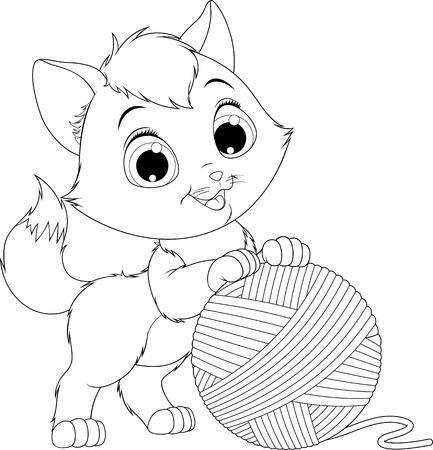 Vector illustration, coloring, funny kitten playing with a ball of yarns.