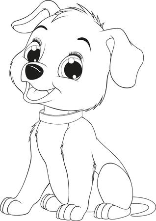Vector illustration of a funny childs dog sitting and smiling, coloring page  Ilustração