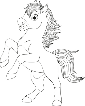 Vector illustration, funny baby foal, on a white background, coloring pages. Ilustração