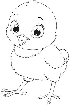 Animados Blanco Y Negro Ilustración De Pollitos O Polluelos ...