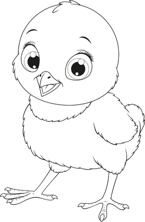 Vector illustration, funny baby chicken, on a white background, coloring pages.