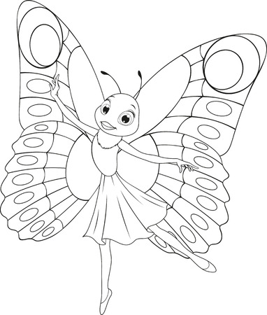 Vector illustration, funny beautiful butterfly, on a white background, coloring pages. Ilustração
