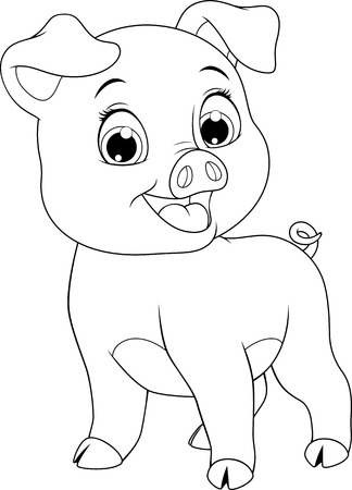 Vector illustration, funny cartoon baby pig, on white background, coloring page.