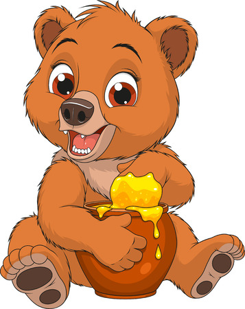 Vector illustration of a funny baby bear eating honey from a pot