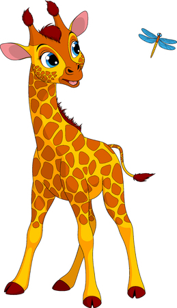 Vector illustration of a funny little giraffe playing with a dragonfly Ilustração