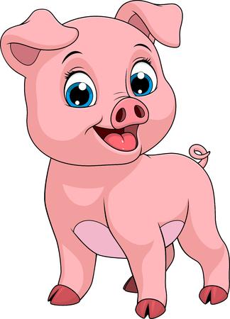 Vector illustration of a funny cartoon baby pig