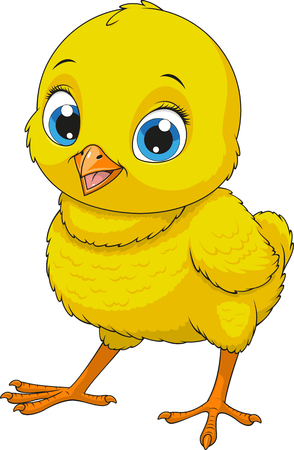 Vector illustration of funny baby chicken Çizim