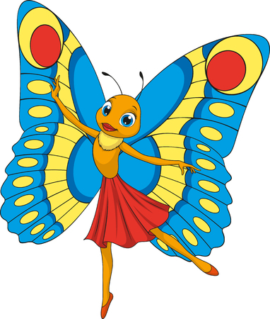 Vector illustration, funny beautiful butterfly, on a white background, coloring pages Ilustração