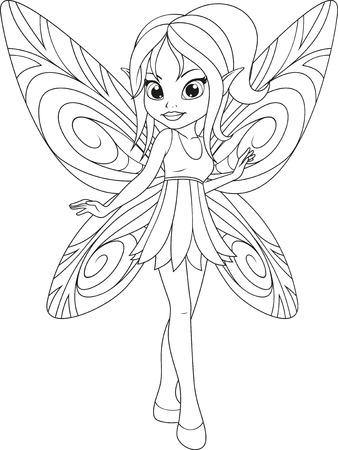 vector illustration, coloring, cute little fairy with wings