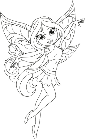 Cute little fairy with wings.