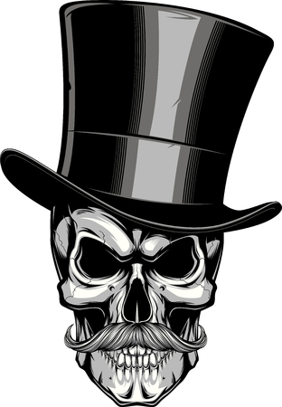 Vector illustration, a moustached skull in a hat, on a white background.