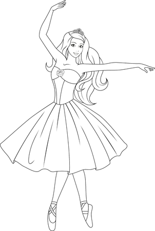 Beautiful princess dancing ballet sketch illustration.