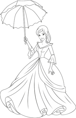 Beautiful fairy princess with an umbrella. Vectores