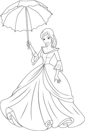 Beautiful fairy princess with an umbrella. Stock Illustratie