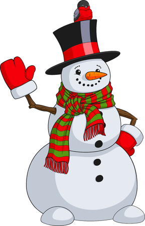 Illustration of a cute snowman in a hat with a scarf, a sparrow sits on a hat.