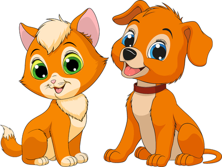 Vector illustration of a kitten and puppy best friends sitting smile on a white background Ilustração