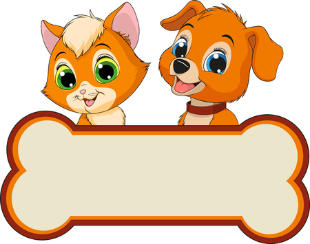 Illustration of a cat and a dog, best friends, banner ads, veterinary clinic, on white background.