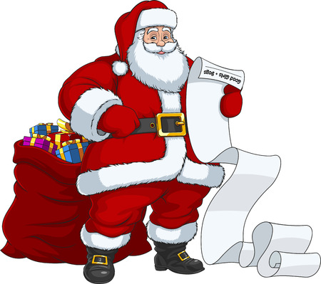 Vector illustration, Santa Claus with a large bag of gifts reading the list of children.