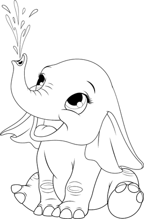 Vector illustration of a funny elephant playing with water, splashing, blowing a fountain, on white office