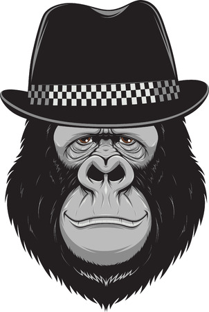 Vector illustration, funny gorilla wearing a stylish hat, on a white background