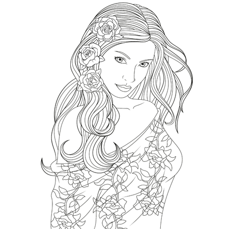Vector illustration, beautiful girl coloring page on white background.