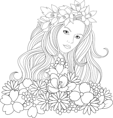 Vector illustration, beautiful girl coloring, on white background.